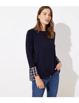 Petite Plaid Mixed Media Bell Cuff Sweatshirt by Loft