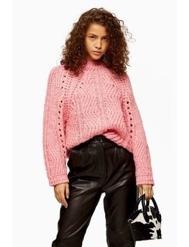 Knitted Pink Chevron Pointelle Jumper by Topshop