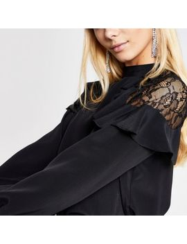 Black Lace Frill Shoulder Top by River Island