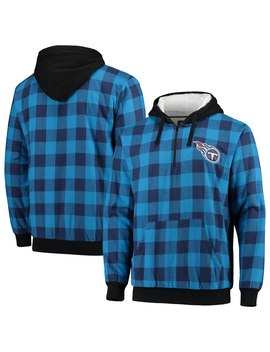 Men's Tennessee Titans Light Blue/Navy Large Check Sherpa Flannel Quarter Zip Hoodie Jacket by Nfl