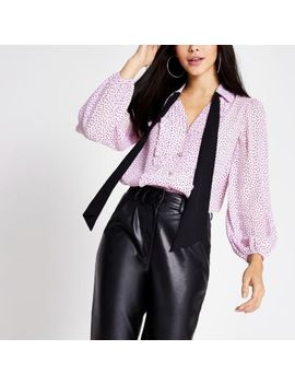 Purple Polka Dot Long Sleeve Tie Neck Shirt by River Island