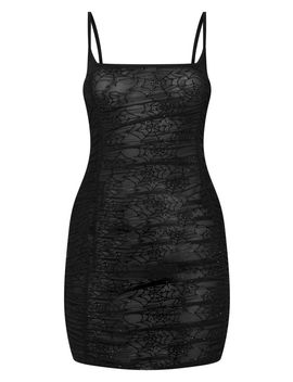 Black Cobweb Flocked Mesh Bodycon Dress by Prettylittlething