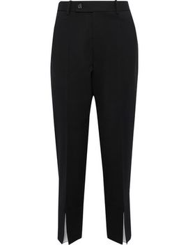 Slit Detailed Wool Blend Twill Tapered Pants by Helmut Lang