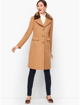 Fur Trimmed Wool Coat by Talbots
