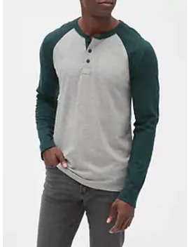 Lived In Colorblock Henley In Slub Jersey by Gap
