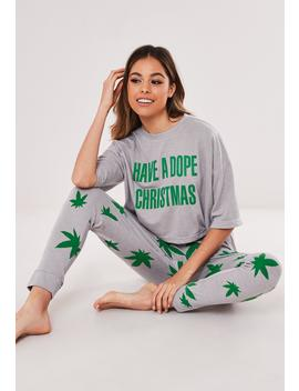 Gray Dope Christmas Pyjama Set by Missguided