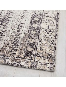 Distressed Ensi Rug, Stone White, 2.5'x9' by West Elm