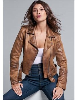 Distressed Moto Jacket by Venus