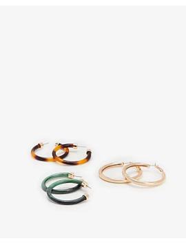 Set Of Three Open Hoop Earrings by Express