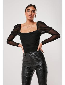 Tall Black Ruched Long Sleeve Bodysuit by Missguided