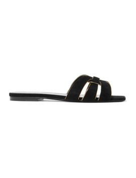 Nu Pieds Suede And Leather Slides by Saint Laurent