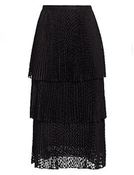 Polk Dot Devoré Tiered Midi Skirt by Akris Punto