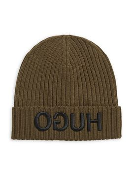 Ribbed Embroidered Logo Beanie by Hugo
