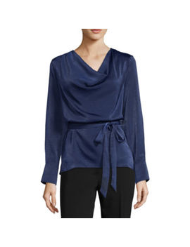 Worthington Womens Cowl Neck Long Sleeve Satin Blouse by Worthington