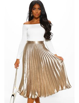 Walking Goddess Gold Metallic Pleated Midi Skirt by Pink Boutique