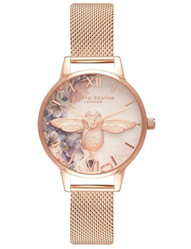 Ob16 Pp40 Watercolour Florals Collection Rose Gold Case Rose Gold Mesh Strap by Olivia Burton