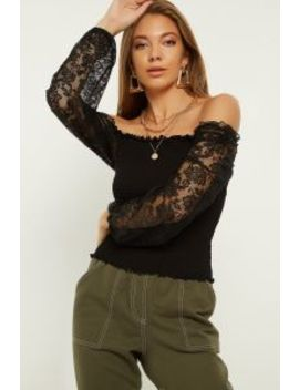 Black Square Neck Shirred Puff Sleeve Top by Select