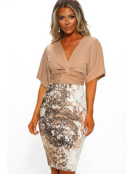 Steal The Show Rose Gold Sequin Midi Skirt by Pink Boutique