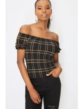 Multi Check Shirred Bardot Top by Select