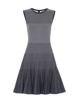 Striped Stretch Knit Minidress by Oscar De La Renta