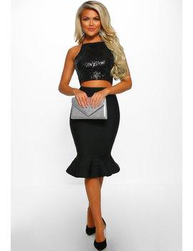 Frilled By Love Black Peplum Hem Bandage Midi Skirt by Pink Boutique