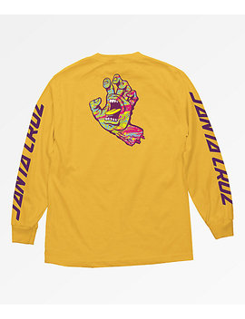 santa-cruz-spill-hand-gold-long-sleeve-t-shirt by zumiez