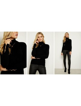Black Polo Neck Jumper With Button Sleeve Detail by Sosandar