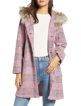 Pink Slip Houndstooth Plaid Hooded Coat by Bb Dakota