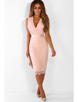 mayfair-dreaming-nude-pleated-lace-midi-dress by pink-boutique