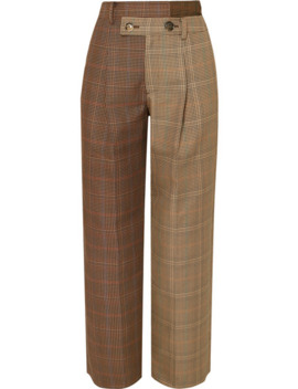 Pantalon Droit Asymétrique En Tweed De Laine Mélangée à Carreaux Fifty Fifty by Andersson Bell