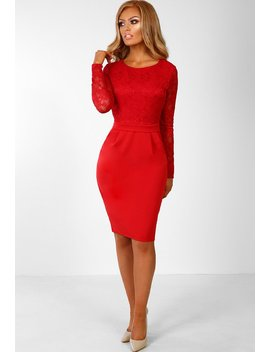 Hollywood Hun Red Lace Long Sleeve Midi Dress by Pink Boutique