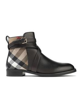 Checked Twill Paneled Leather Ankle Boots by Burberry