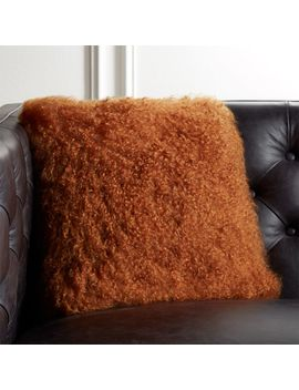 "16"" Mongolian Sheepskin Copper Fur Pillow by Crate&Barrel"
