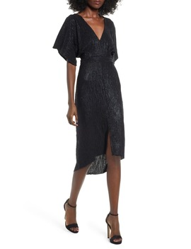 V Neck High/Low Hem Midi Dress by Astr The Label