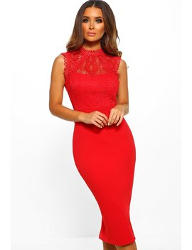 Our Secret Red Lace Bodycon Midi Dress by Pink Boutique