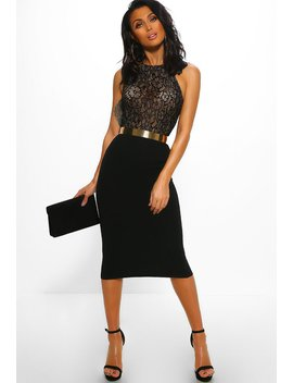 Hollywood Dreamer Black Lace Bodycon Midi Dress by Pink Boutique