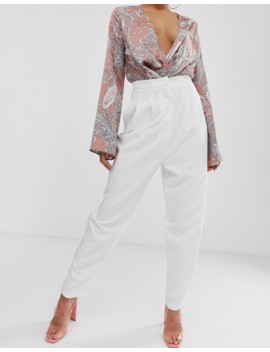 Asos Design Tall Extreme Tapered 80s Pants In White by Asos Design