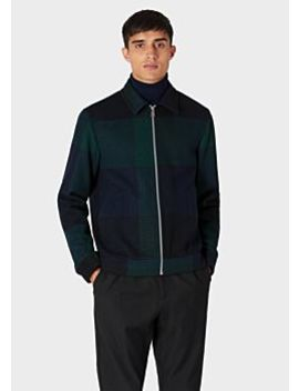 Men's Navy And Green Buffalo Check Wool Blend Jacket by Paul Smith