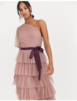 Anaya With Love One Shoulder Tiered Midi Dress In Taupe by Anaya With Love