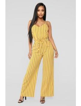 Molly Stripe Jumpsuit   Mustard by Fashion Nova