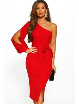 Against The Odds Red Asymmetric Neckline Midi Dress by Pink Boutique