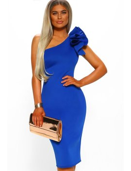Ruby Ruffle Cobalt Blue One Shoulder Bodycon Midi Dress by Pink Boutique