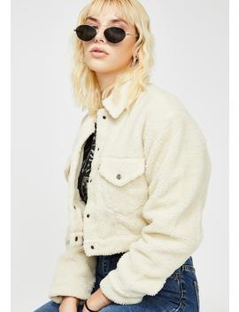 Cloud Cream Cropped Sherpa Jacket by Levis