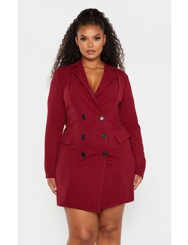 Plus Burgundy Button Detail Blazer Dress by Prettylittlething