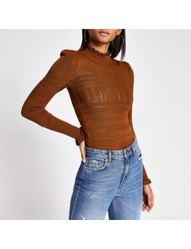 Brown Long Puff Sleeve Frill High Neck Top by River Island