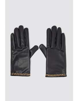 Faux Leather Gloves With Chain Trim by Zara