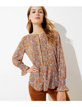 Floral Pintucked Henley Blouse by Loft