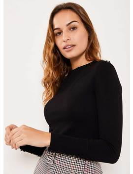 Black Buttoned Fitted Jumper by Mint Velvet