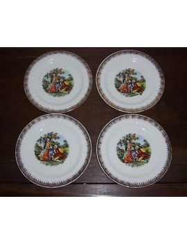 4 Bread Plate S   Courting Couple People   Cronin China Ohio   Gold Lacey Edge by Cronin China Co