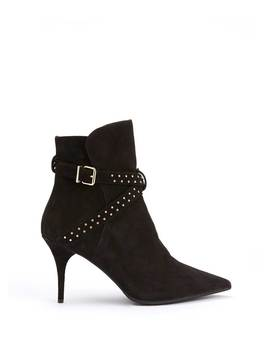 Emily Black Suede Ankle Boots by Mint Velvet